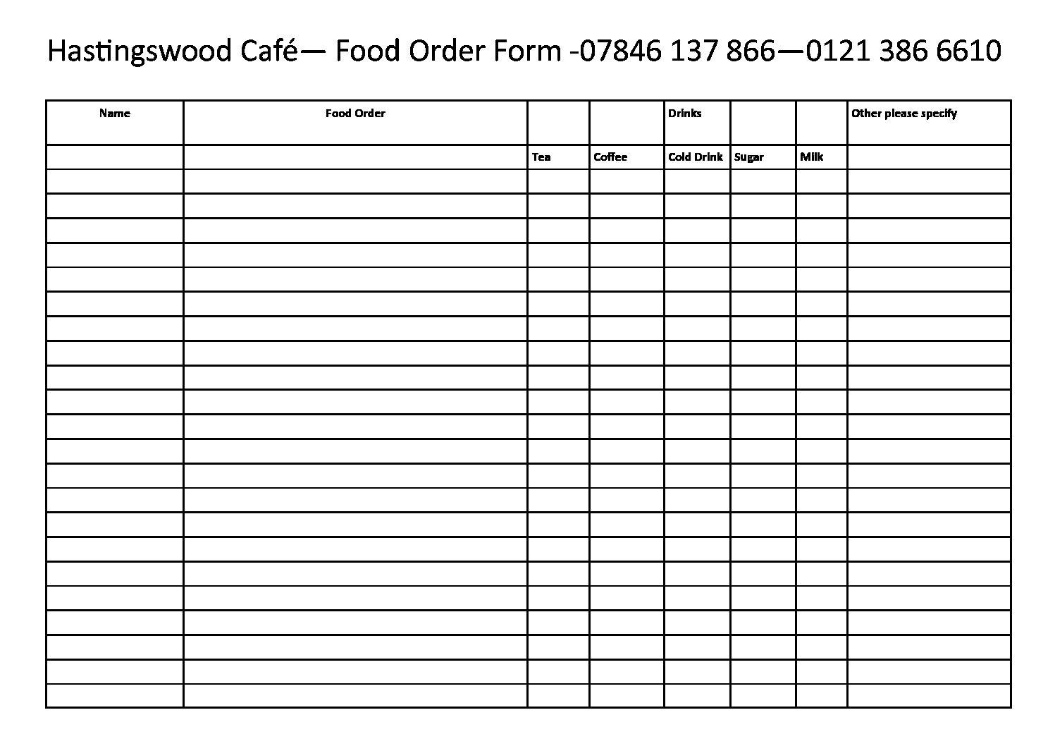 food order form - Madran kaptanband co